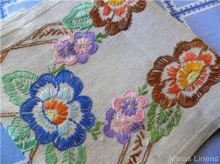 Long Vintage Linen Table Runner Hand Embroidered Flowers 120cm