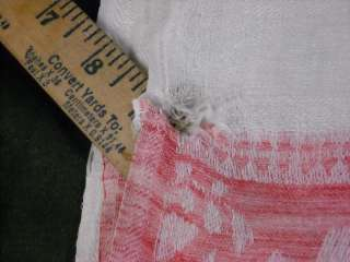 Antique Red and White Linen Floral Trim Table Runner