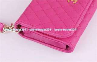 New Luxury Designer Wallet Case Card Flip Cover for iPhone 4 4S chain