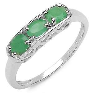 0.60 Carat Genuine Emerald Sterling Silver Ring