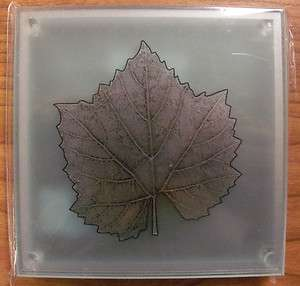 Grape Vine Wine Leaf Glass Coasers   Se of 4   NEW |