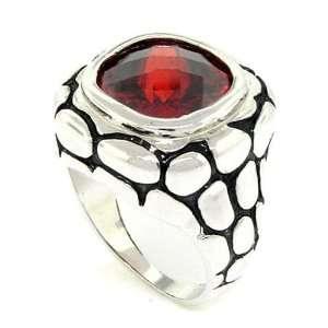 Inspired Wild Crocodile Skin Ring w/Garnet CZ Size 6 Alljoy Jewelry