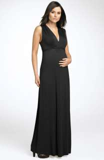 NEW OLIAN Maternity Shirred Jersey Maxi DRESS Size SMALL BLACK