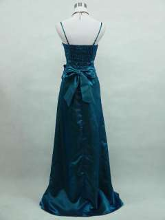 Cherlone Satin Dark Blue Sparkle Long Ball Gown Wedding/Evening Dress