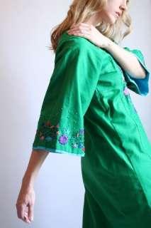 Vtg 70s EMBROIDERED CAFTAN MAXI Hippie Angel Boho Dress