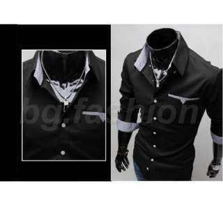 Mens Luxury Long Sleeve Grid Check Patched Slim Fit Casual Dress