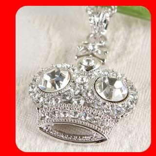 New Crown Swarovski Crystal silver sp Pendant necklace
