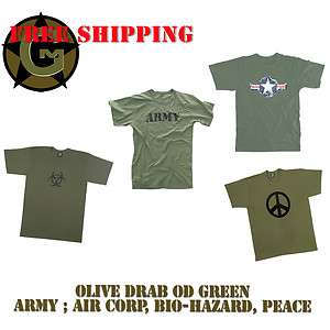 Vintage Retro Army Tee Shirt Olive drab OD green ARMY Air Corp PEACE
