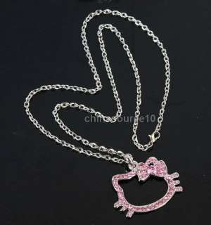 2x pink hello kitty cat bowknot key swarovski crystal gilr chain