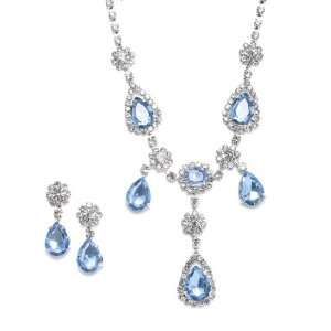 Sapphire Blue Dangling Teardrop Rhinestone Neck Set
