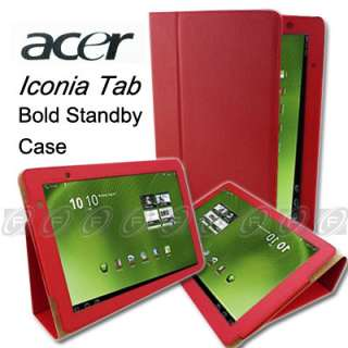 Acer Iconia Tab A500 Folio Leather Case Cover with Stand Black
