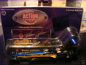 1996 BLAINE JOHNSON DRAGSTER ACTION RACING Car Yellow