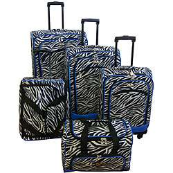 American Flyer Blue Zebra Print 5 piece Spinner Luggage Set