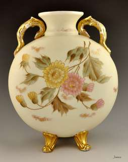 Antique Hand Painted Austrian Gilded Floral Vase Cream