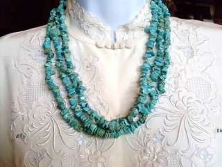 VINTAGE CHUNKY LAYERED TURQUOISE BEADED NECKLACE NICE