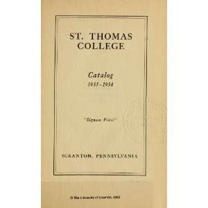Catalog Of Saint Thomas College1933 1937 St. Thomas College Books