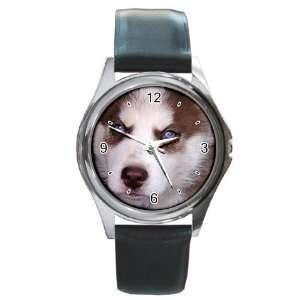 Siberian Husky Puppy Dog 17 Round Leather Watch CC0631