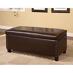 Dark Brown Bi Cast Leather Storage Bench