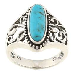 Southwest Moon Sterling Silver Turquoise Filigree Ring
