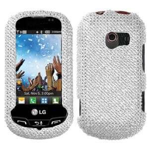Mobile LG Extravert Crystal Diamond BLING Hard Case Phone Cover Silver