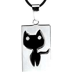 Stainless Steel Black Cat Necklace