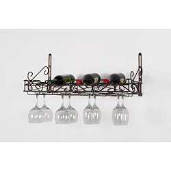 Concept Housewares Bronze Pewter Wine Bottle/ Glass Wall Rack