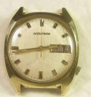 Vintage 14K Gold Filled Bulova Accutron Mens Watch Cal 2182