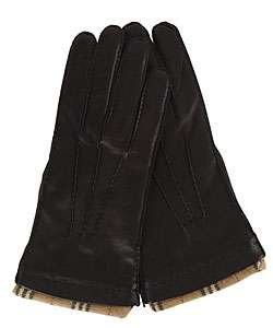 Burberry Mens Black Leather Cashmere Gloves