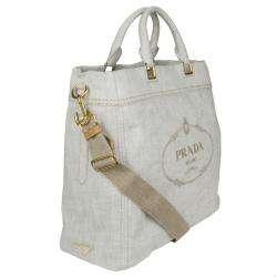 Prada BN2068 Light Grey Canvas Logo Tote Bag
