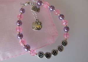 Personalised Girls Bracelet Hello Kitty Charm Bracelet   Pink & Lilac
