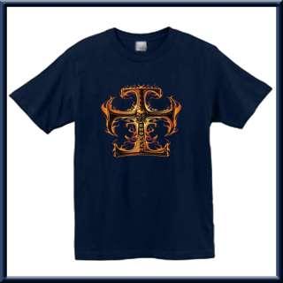 Flaming Iron Cross Chopper Biker Shirt S XL,2X,3X,4X,5X