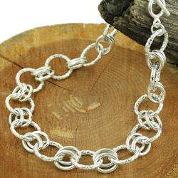 Sterling Silver Textured Toggle Link Necklace (Mexico)