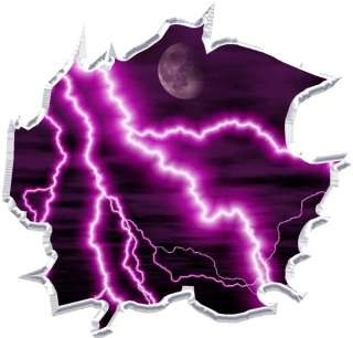 Vinyl graphic decal Ripped purple lightning race car