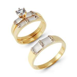 14k Yellow Band White Gold Accented CZ Wedding Ring Set Jewelry