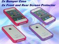 Purple & Pink Bumper Case Cover, Screen for iPhone 4