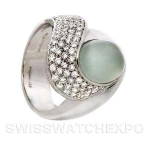 18k White Gold Cats Eye Aquamarine Diamonds Ring