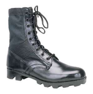 BLACK LEATHER MILITARY JUNGLE BOOTS ARMY COMBAT G.I.