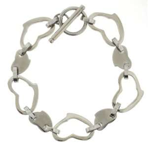 Womens Stainless Steel Solid and Open Heart Link Bracelet