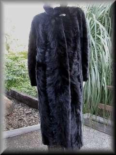 REAL MINK FUR COAT JACKET BLACK FULL LENGTH LADIES 12 14 16 MINT