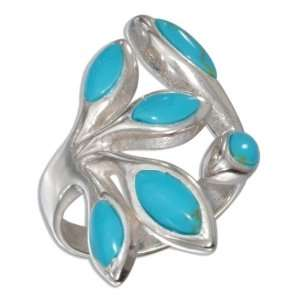 Sterling Silver Turquoise Open Branch Ring (size 09