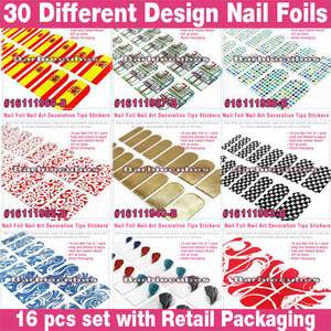 30 Design Nail Art Foil Sticker Wraps Finger & Toe Manicure Patch #V