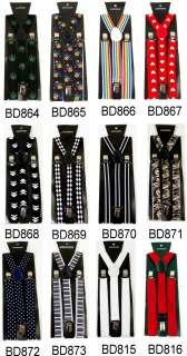 Adjustable Clipon solid stripe crossbones Suspenders braces BD8H2