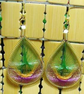 Tibet Peacock Feather silk thread Earrings Green&Brown