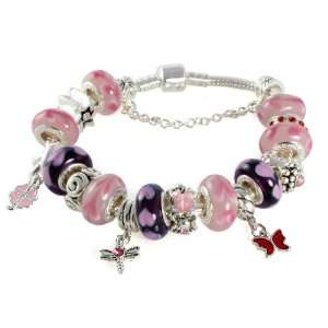 My Heart Murano Heart Bead Charm Bracelet with 17 Gorgeous Beads and