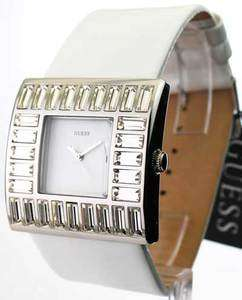 WOMENS GUESS WHITE LEATHER CRYSTAL BEZEL WATCH W11524L4 091661332272