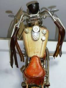 Wood & Tin Decorative Indian Chief Motorcycle Figurine 16 x 9