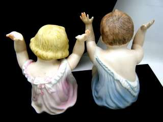 Pair Vintage Piano Baby Figurines Unmarked German Bisque Porcelain 6 1