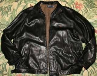 Mens Polo RALPH LAUREN Black Leather Jacket XXL