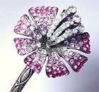 Fuchsia Pink Flower Swarovski Crystal Hair Pin Stick Fork Antique