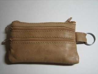 TAN LEATHER MONEY COIN PURSE ZIPPER WALLET w/ KeyRing